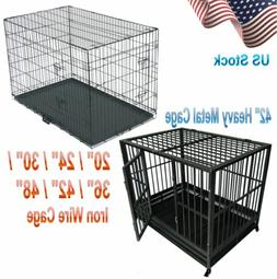 """20/24/30/36/42/48"""" Pet Kennel Cat Dog Folding Cage Crate Wir"""
