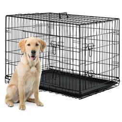 """48""""/42""""/36""""/30""""/24"""" Pet Kennel Cat Dog Folding Crate Wire Me"""