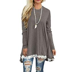 Dressin Womens Ladies Casual Lace Long Sleeve Shirt Pullover