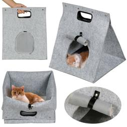 Collapsible Gray Pet Carrier Handbag Portable Cat Dog Comfor