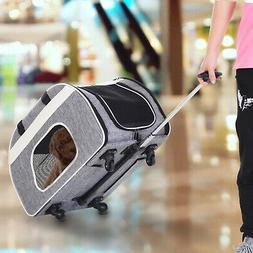 Foldable Pet Carrier with Wheels Oxford Fabric Aluminum Smal