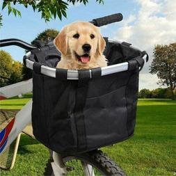 Folding Bicycle Basket Small Pet Dog Carrier Front Bike Hand