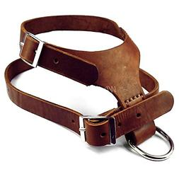 BOSUNHandmade Brown Color Real Genuine Leather Dog Harness f