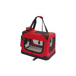 """ALEKO 19X14X12"""" Heavy Duty Collapsible Red Pet Carrier Porta"""