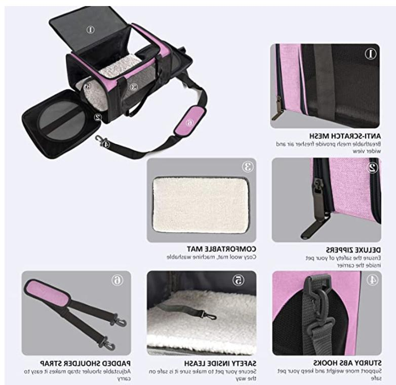 Cat Carriers Dog Pet for Small Medium up 15