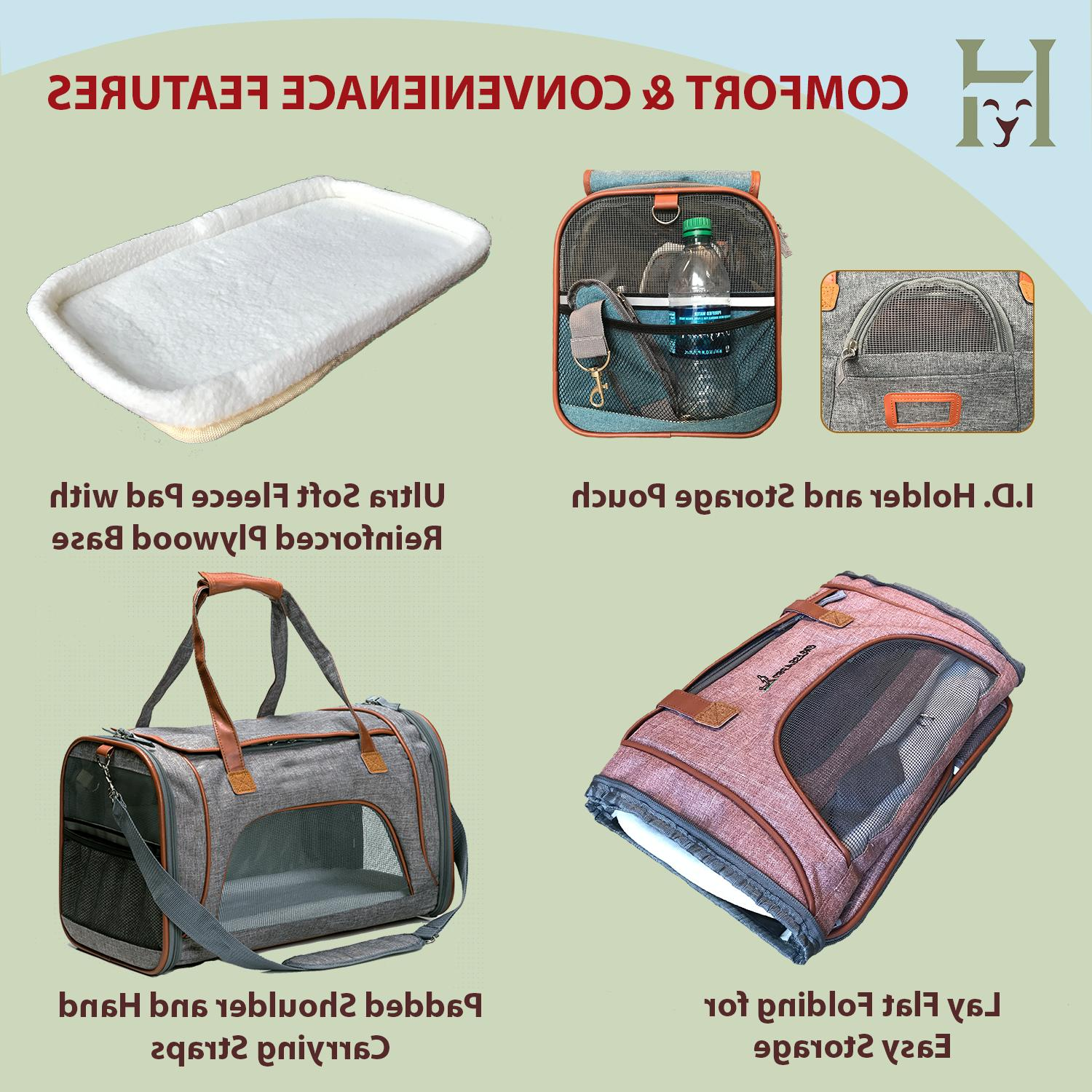 Luxury Airline Soft-Sided Comfort Dog Cat Travel Carrier