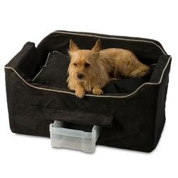 Large Micro Suede Deluxe Pet Car Seat Black With Herringbone