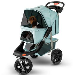 Pet Stroller Cat Dog 3 Wheel Jog Folding Heavy Duty Travel B
