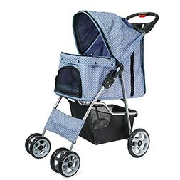 Flexzion Pet Stroller Dog Cat Small Animals Carrier Cage 4 W