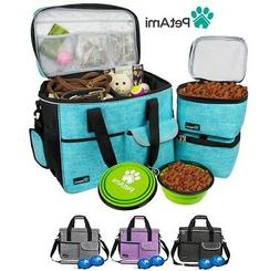 Pet Supply Travel Bag Set Weekend Tote Dog Gear Food Carrier