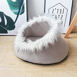 CWAY Soft Pet Bed for Cats and Puppy, Comfy Cat Cave(Beige