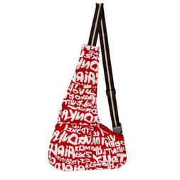 TOOGOO Red-white Sling Pet Carrier Cat Dog Tote Single Shoul